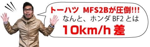 トーハツ MFS2Bが圧倒!!!なんと、ホンダ BF2とは10km/h差