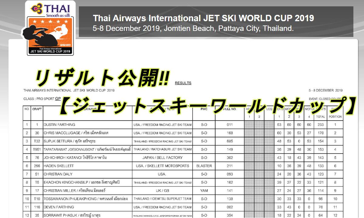プロクラス結果発表!! 【タイ・ジェットスキーワールドカップ】