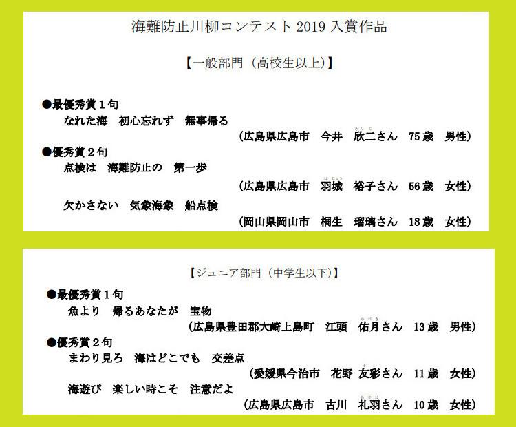「海難防止川柳コンテスト2019」入賞作品