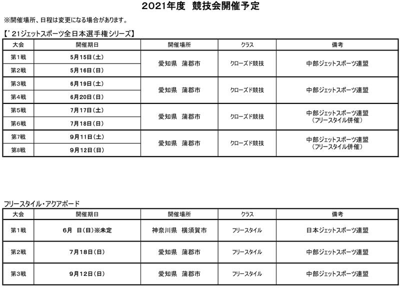 2021年度大会スケジュール